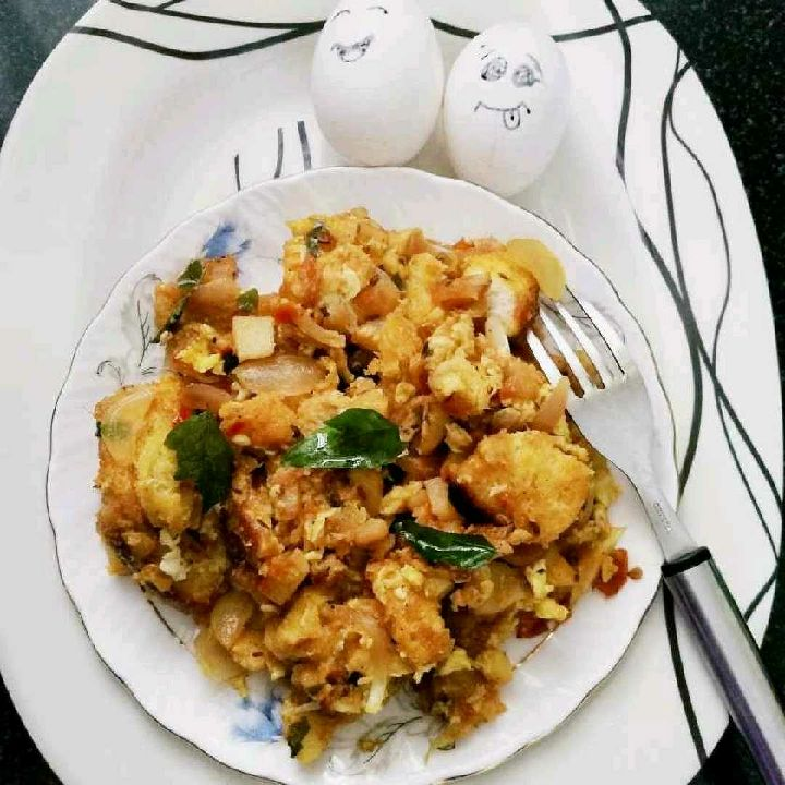 How to make Egg and bread Upma