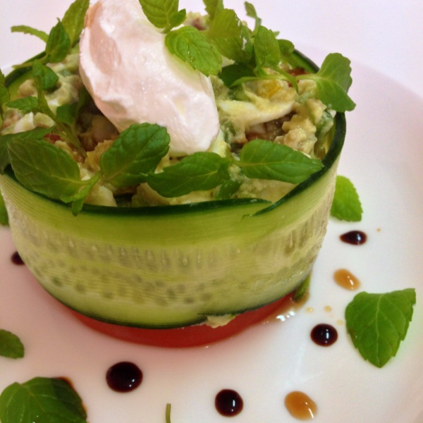 How to make Avocado and Egg Salad served with Feta Cheese and Balsamic reduction