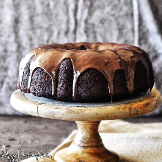 How to make Eggless Double Chocolate Bundt Cake with Nutella Frosting