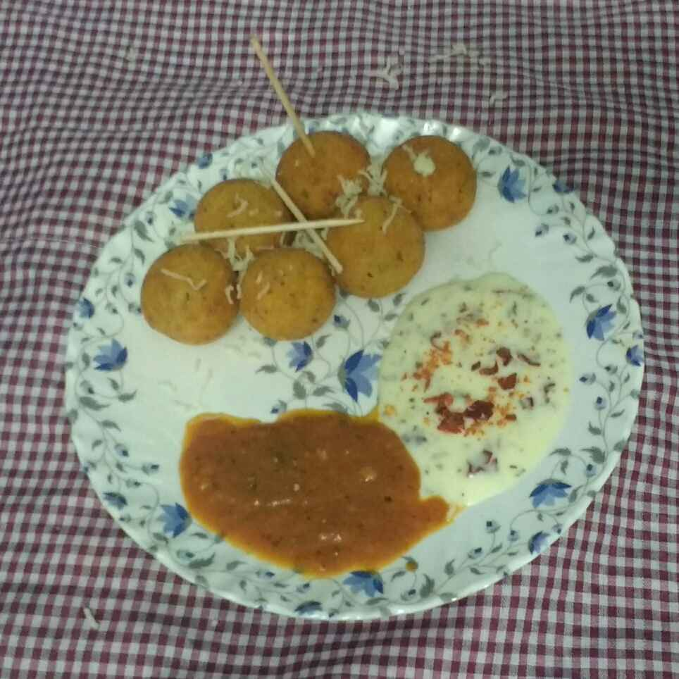 Photo of Italian style potato cheese balls with pizza sauce and cheese dip by Ajinkya Shende at BetterButter