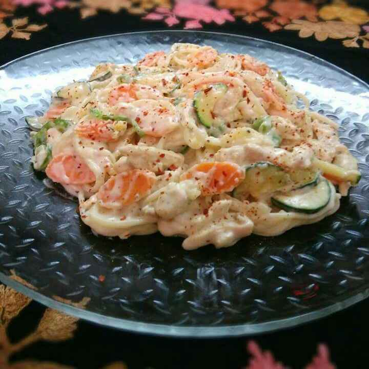 How to make Chicken Spaghetti With White Creamy Sauce