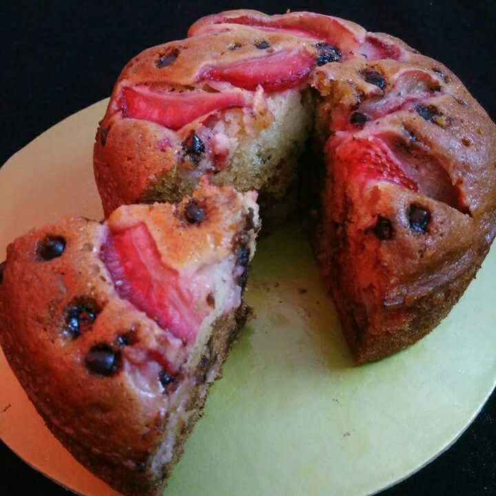 Photo of Strawberry And Chocolate Chips Eggless Cake by Akum Raj Jamir at BetterButter