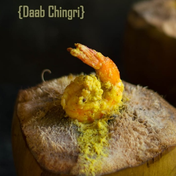 How to make Daab Chingri (Prawns Cooked inside Green tender coconut)