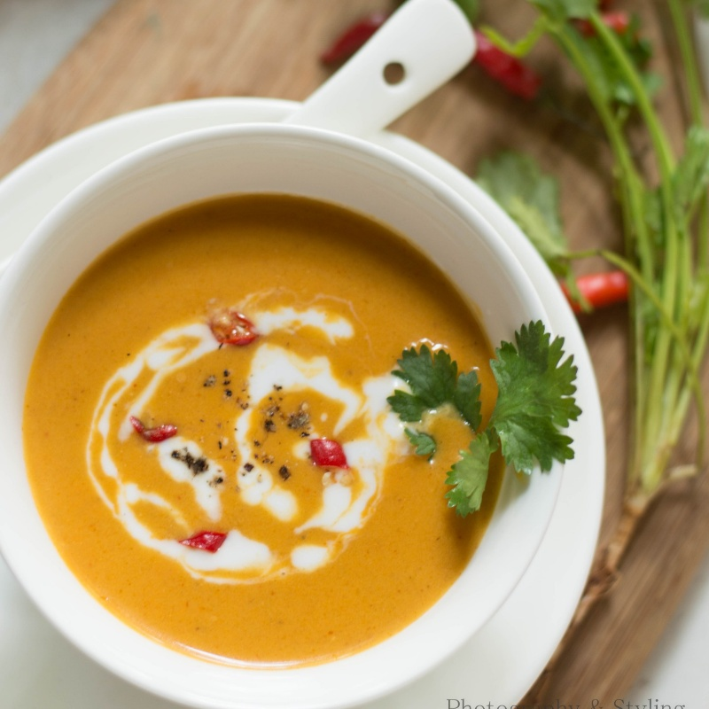 How to make Thai Pumpkin Soup with Red curry Paste recipe