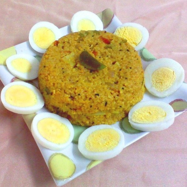 How to make Broken wheat upma and boiled eggs