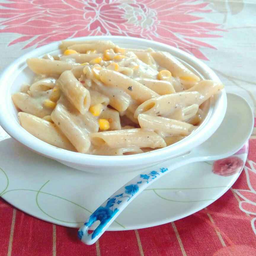 Photo of Sweet corn and cheese pasta by Amina Khaleel at BetterButter