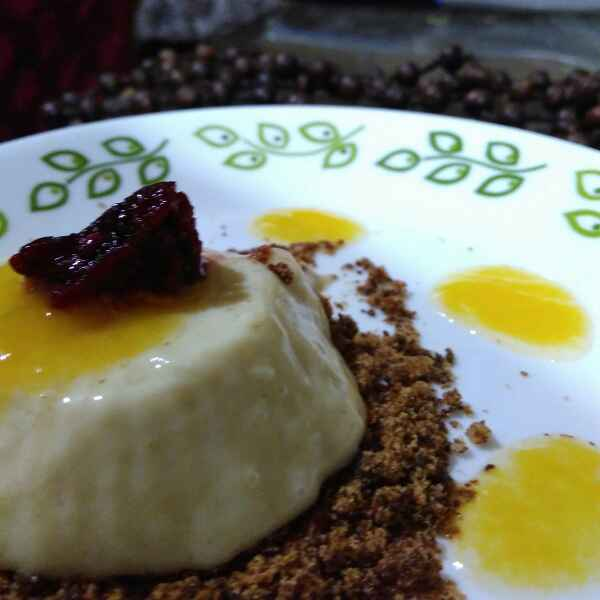 How to make Vegan Coconut Milk and Ginger Panna Cotta with Mango and Peach Gel and Blackberry Crumb