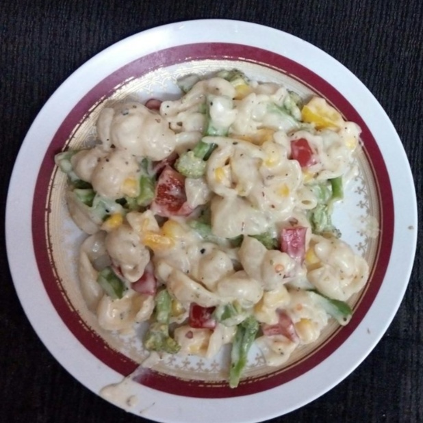 Photo of Sea Shell Pasta In Alfredo Sauce ! by Anagha Doiphode at BetterButter
