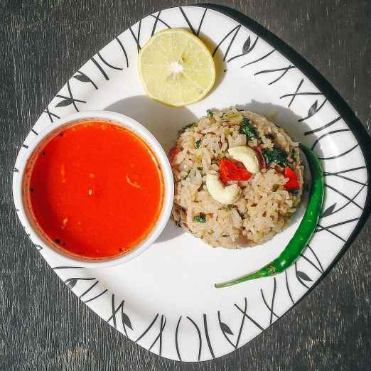 Photo of Tangy Tomato Curry With Kashmiri Pulao by Anjali Kataria at BetterButter