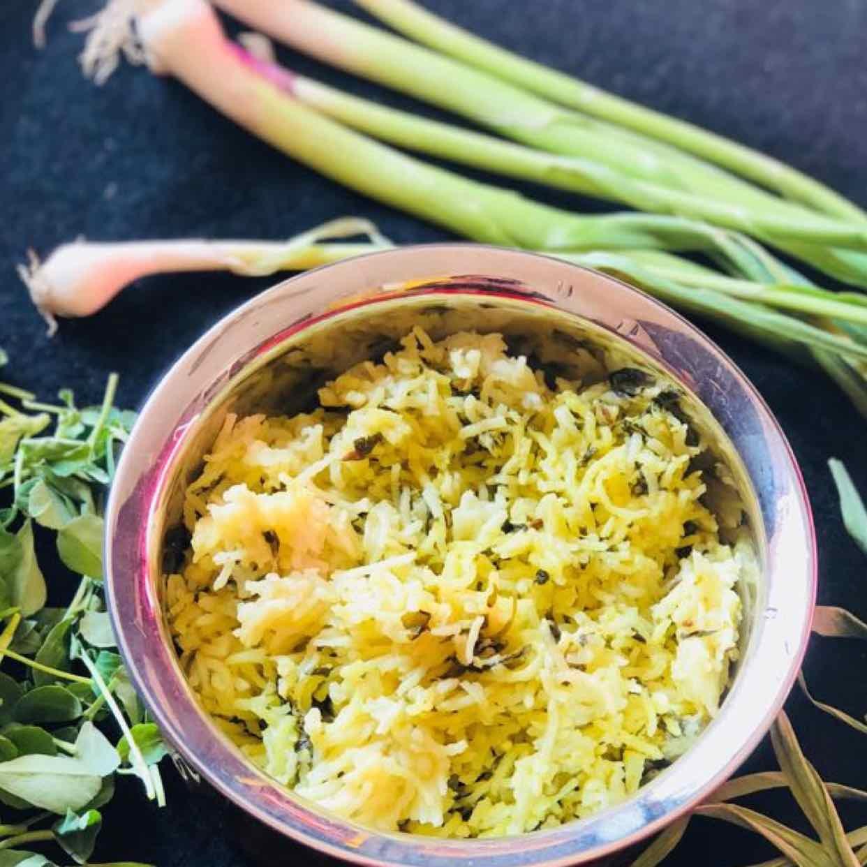 Photo of Methi green garlic pulao by Anjali Valecha at BetterButter