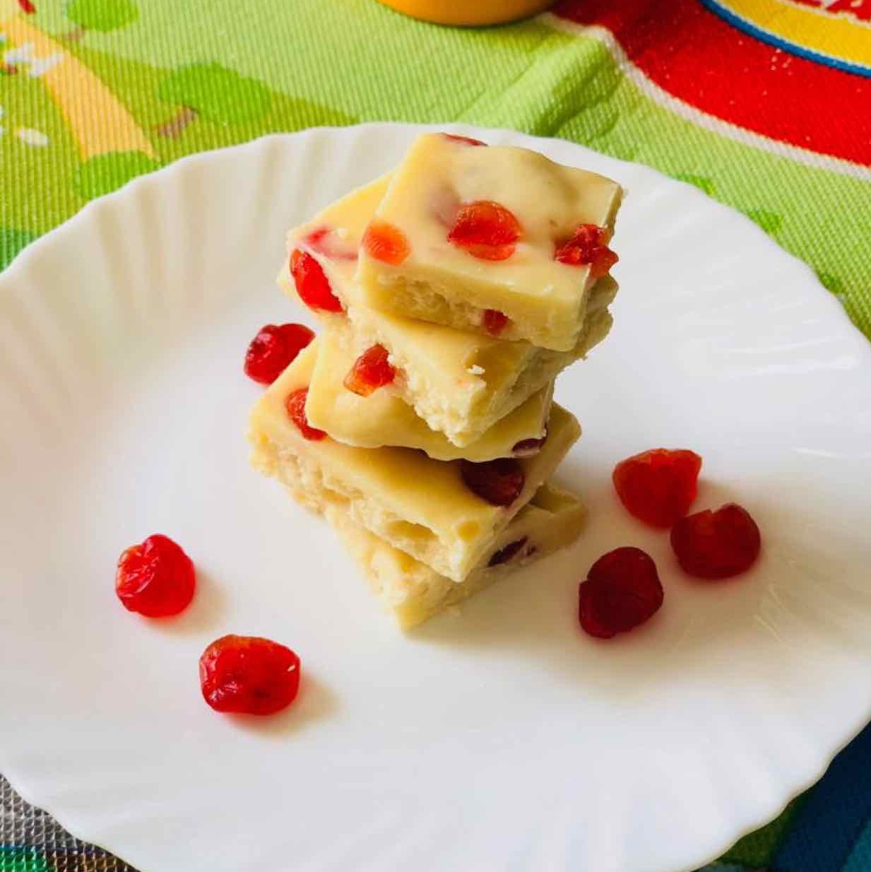 Photo of white chocolate fudge with cherries by Anjali Valecha at BetterButter