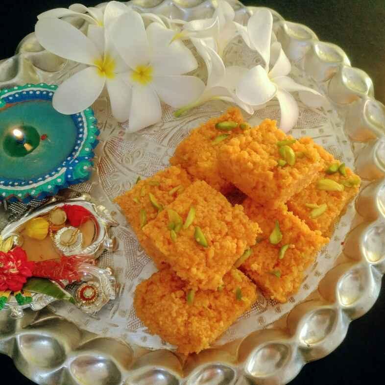 Photo of Kesari chhena seb kalakand by Anjali Valecha at BetterButter