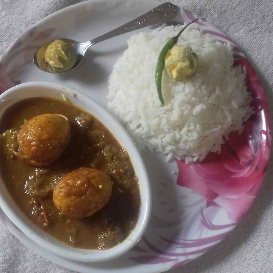 How to make Egg curry with rice