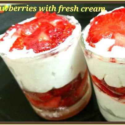 Photo of Strawberries with fresh cream by Ankita Mohit Pandit at BetterButter