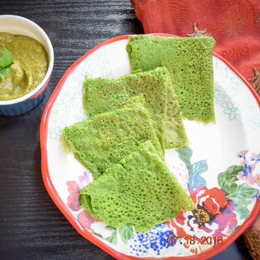 Photo of Palak Neer Dosa (Spinach Dosa) by Antara Navin at BetterButter