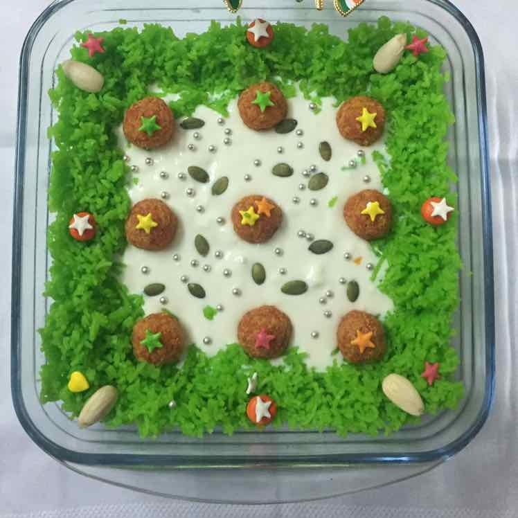 How to make Truffle pudding ( baked curd, green sweetened rice and sweetened carrot balls)