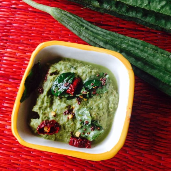 How to make Ridge Gourd and Coriander Chutney (Beerakai Kothimira pacchadi)