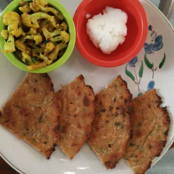 Photo of Mix veg paratha ,  gobhi aalu ki sabji , homemade butter by Archana Agrawal at BetterButter