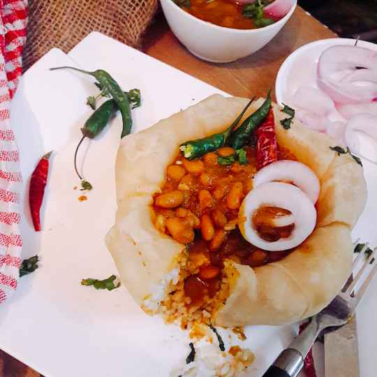 Photo of Rajma Rice in garlic naan bowl by Archana Srivastav at BetterButter