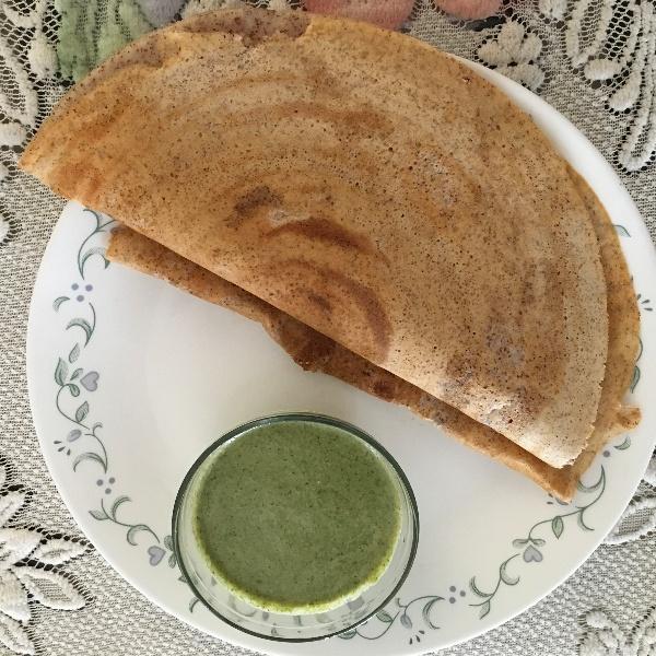 How to make Ragi Dosa with Pudina Mint Chutney
