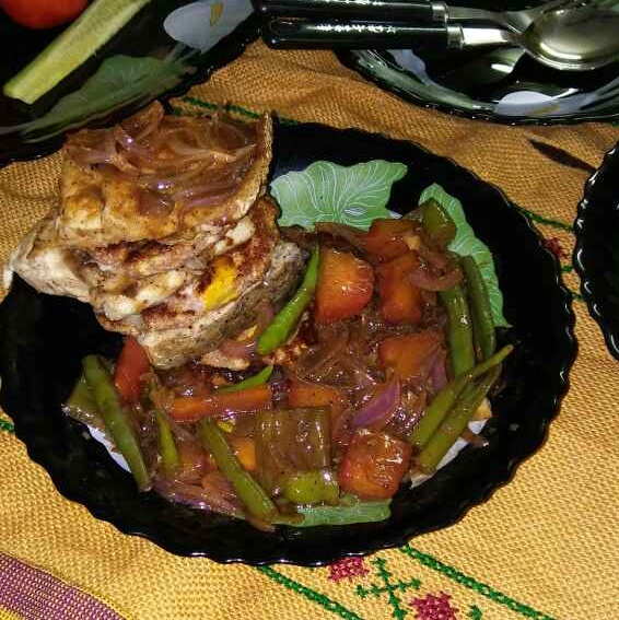 How to make Fish with guava pan cake and vegetables
