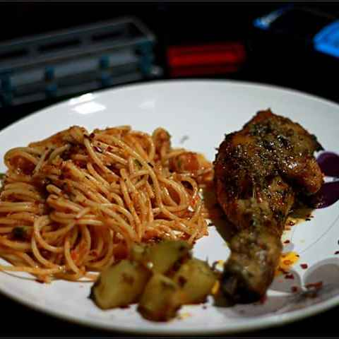 Photo of Tuna Spaghetti with Grilled Chicken and Grilled Potato by Arpita Roy Pal at BetterButter