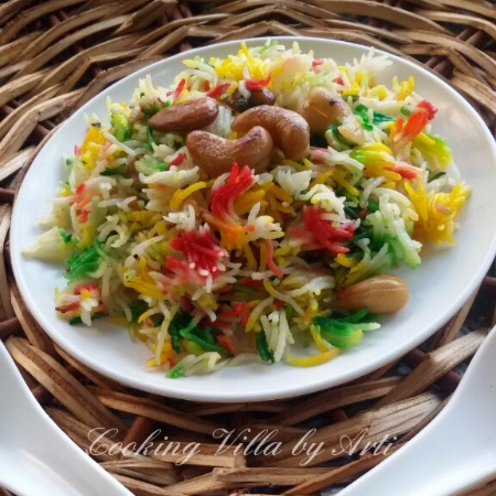 How to make Dry Fruit Rainbow Rice