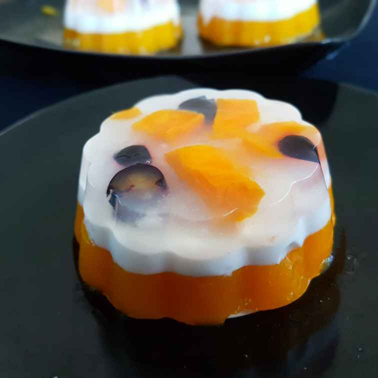 How to make Mango coconut fruit jelly cake