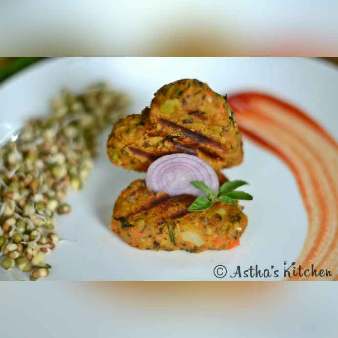 How to make SPROUTED MOONG , OATS AND VEGGIE KABAB/ TIKKI /CUTLETS