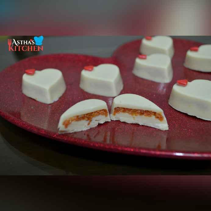 Photo of Chocolate carrot halwa hearts by Astha Mahajan at BetterButter