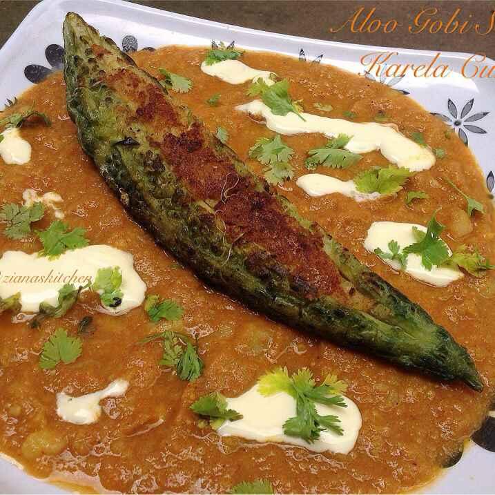 Photo of Aloo Gobi Stuffed Karela Curry by Ayesha Ziana at BetterButter
