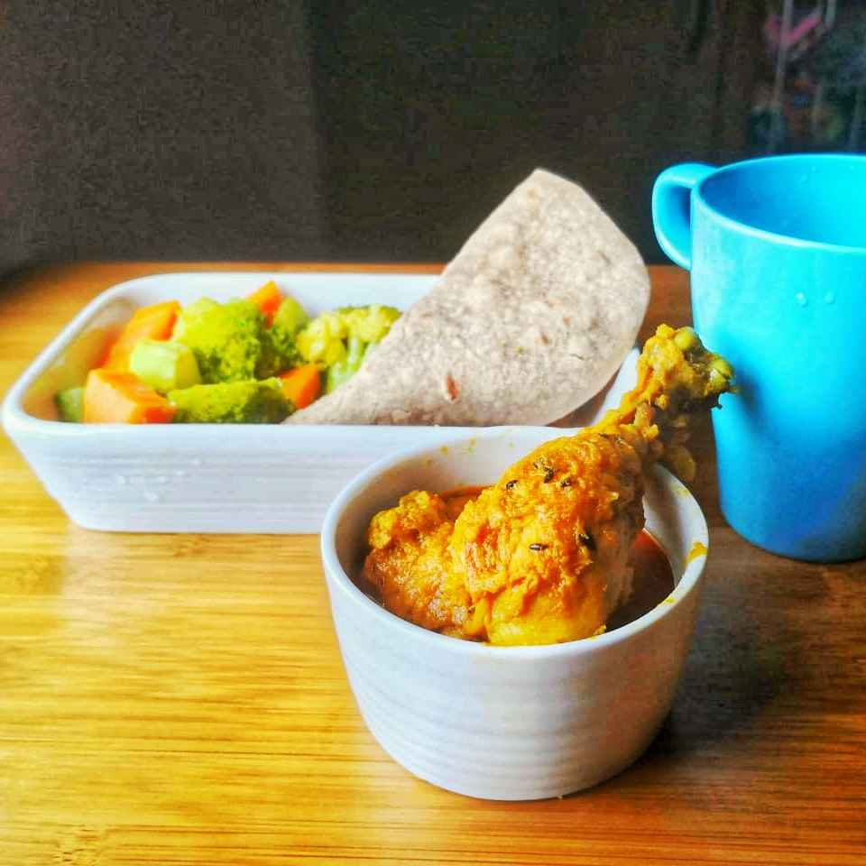 Photo of Paleo style chicken curry with ragi chappathi by Benazer Abdul Kader at BetterButter