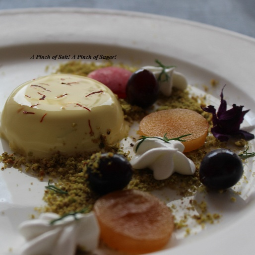 How to make Saffron Cardamom Panna cotta with Pista crumb and fresh fruits