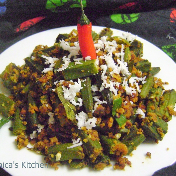 How to make Okra Paruppu Usili - South Indian Style