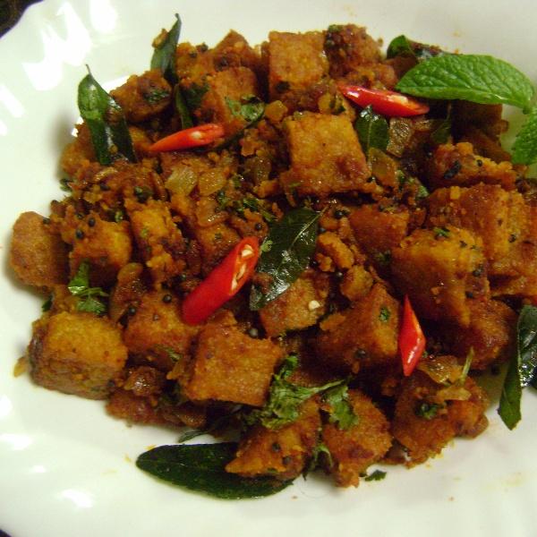 How to make Dhoka Stir Fry - (Fried Lentil Cakes Stir Fry - Bengali Style)