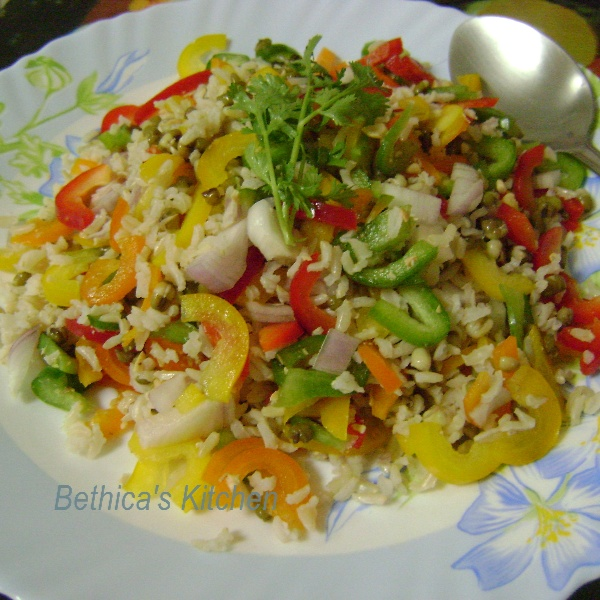 How to make Brown Rice Salad with Bell Peppers & Sprouts
