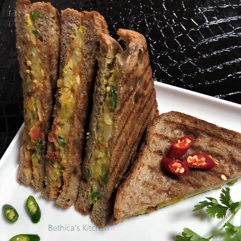 How to make Pan Grilled Paneer Sandwich
