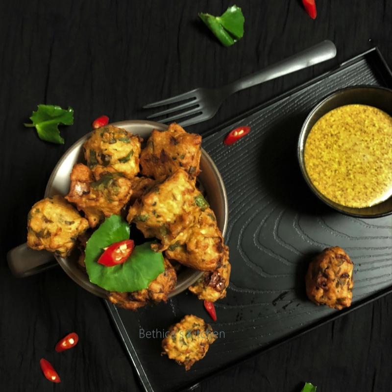 Photo of Thankuni Pata diye Biuli Dal Er Bora (Centella Leaves Pakoras / Fritters - Bengali Style) by Bethica Das at BetterButter