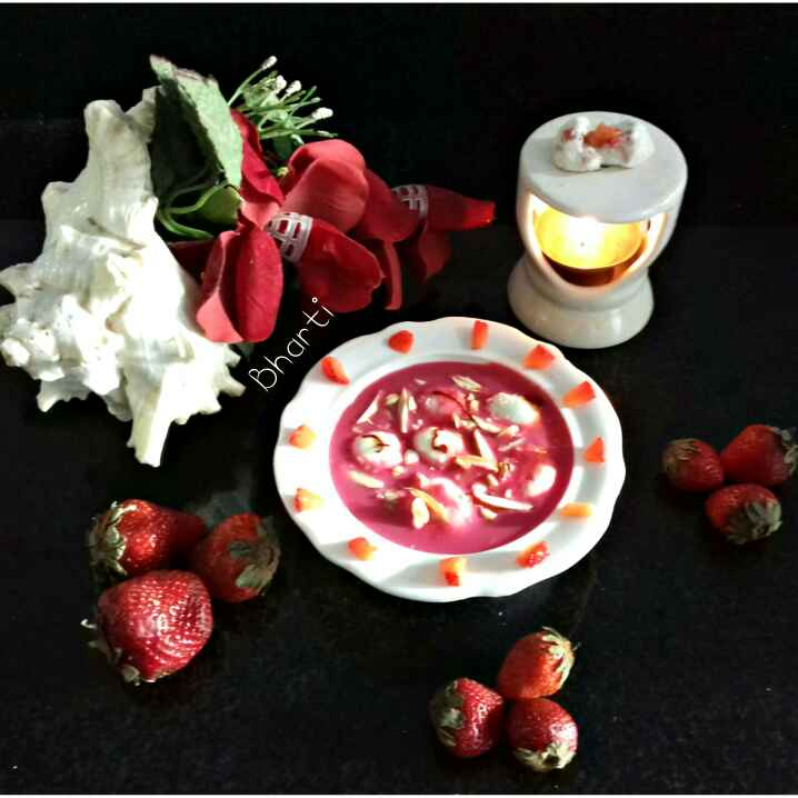 Photo of Beet custard ma strawberry Rasmalai by Bharti Khatri at BetterButter
