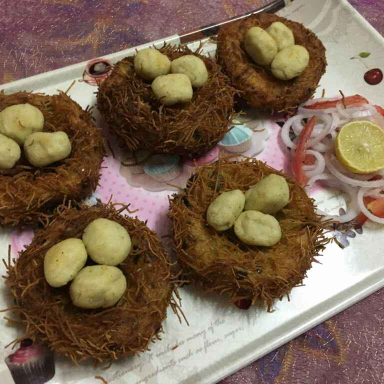 How to make BIRD'S NEST WITH VEG EGGS