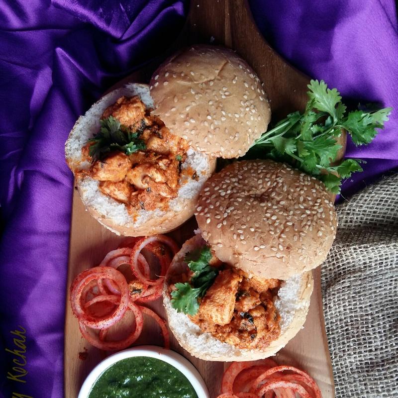 Photo of Chicken tikka in a bun by Bobby Kochar at BetterButter