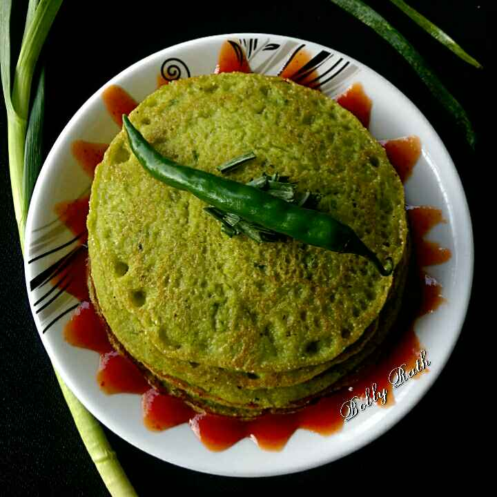 Photo of Green garlic oats pancake by Bobly Rath at BetterButter