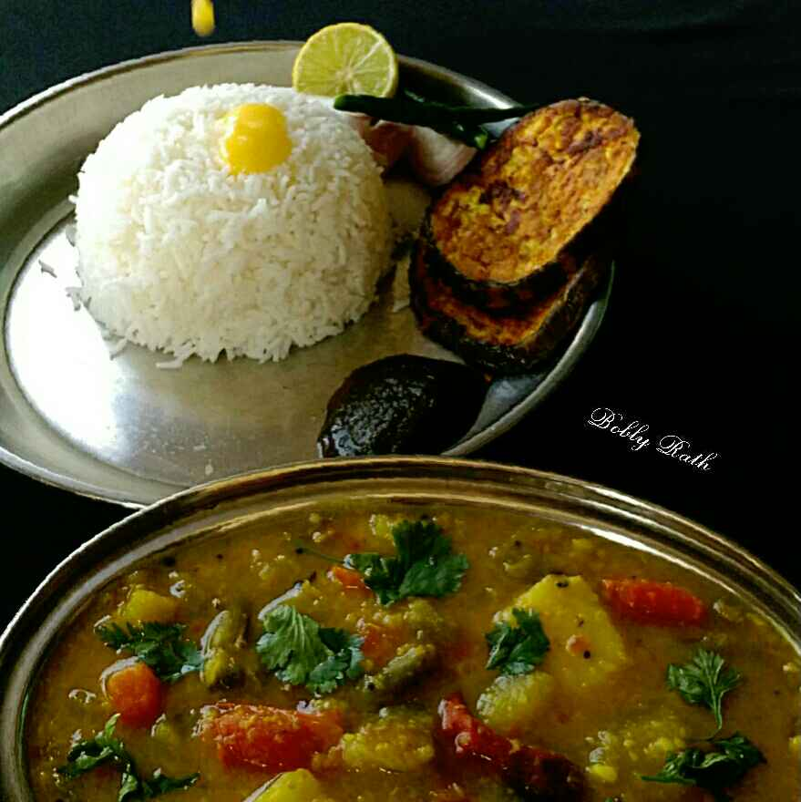 Photo of A comfortable odia lunch ( Bhata,dalma, baigan bhaja,dhania patra chutney) by Bobly Rath at BetterButter