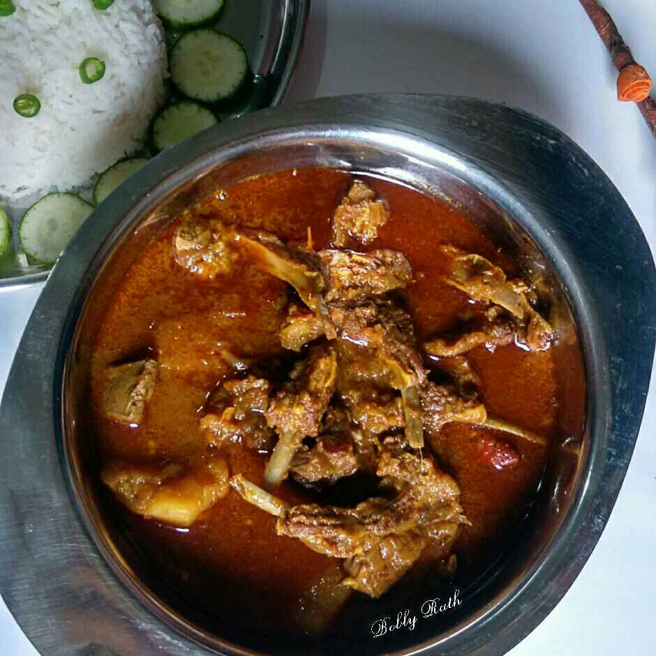 Photo of Traditional odia style motton aloo jhol with rice by Bobly Rath at BetterButter