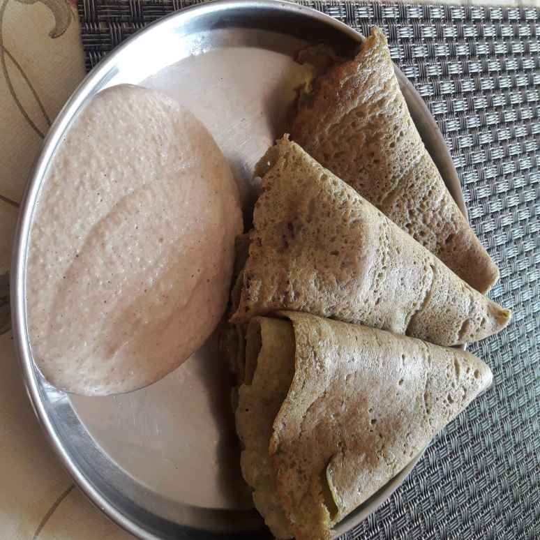Photo of Greengram dosa with peanut chutney. by Chandrika Marripudi at BetterButter