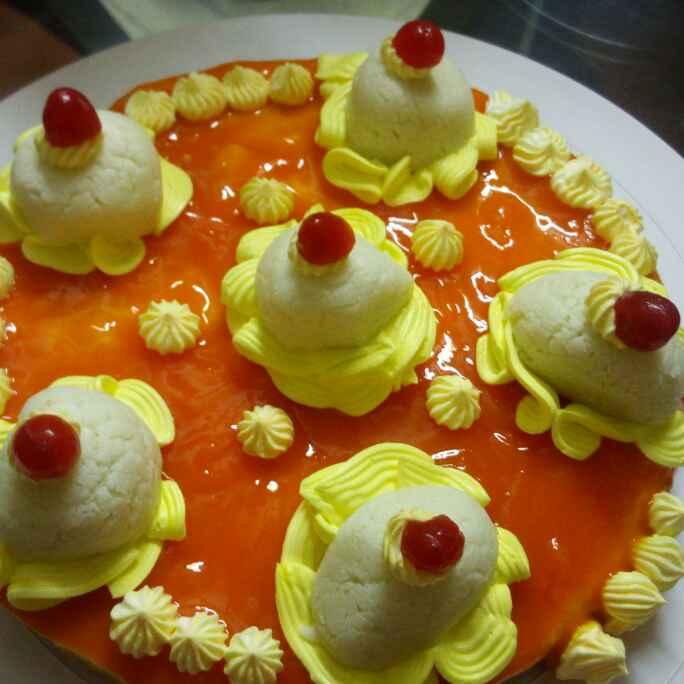 Photo of Mango rasgulla cheesecake by Chandu Pugalia at BetterButter