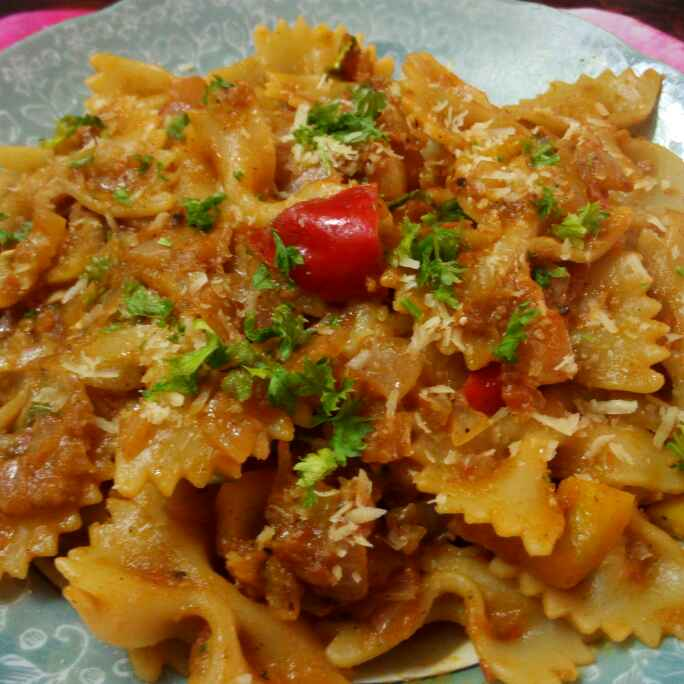 Photo of butterfly pasta in tangy tomato sauce by Chandu Pugalia at BetterButter