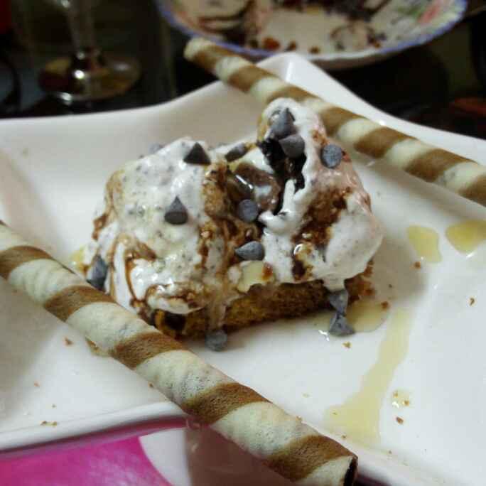 Photo of Honey almond brownie with oreo icecream by Chandu Pugalia at BetterButter