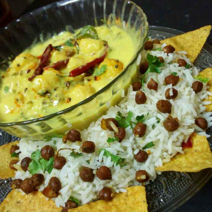 How to make Moong daal pakora kadhi with channa rice