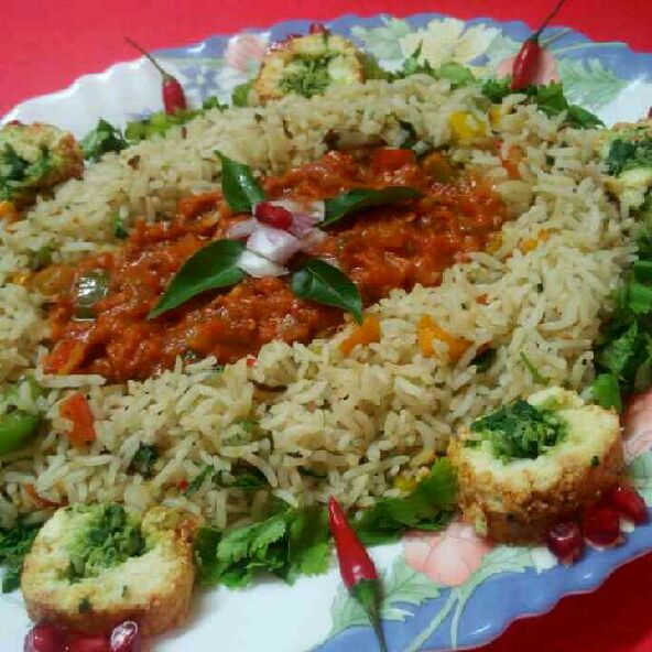How to make Cheese roll with rice in tomato gravy